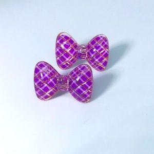 Purple Bow Kawaii Handmade Stud Earrings
